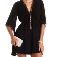 Lace-Trimmed Kimono Sleeve Surplice Dress by Charlotte Russe - Black