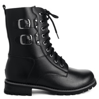 Leather Lace Up Boots in Black  Black EU