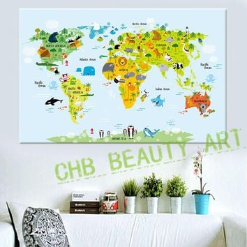3 Panel Canvas Painting Cartoon Animal Map Home Decor Wall Picture Print On Canvas For Children Room Artwork Unframed
