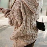 Fashion LOOSE KNIT CARDIGAN SWEATER JACKET coat