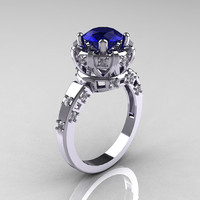 Modern Antique 14K White Gold 1.5 Carat Blue Sapphire Diamond Classic Armenian Solitaire Wedding Ring AR107-14KWGDBS