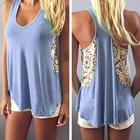 Lace Round Neck Stitching Vest