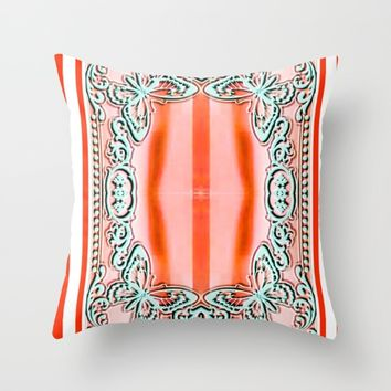 ORANGE LACE Throw Pillow by violajohnsonriley