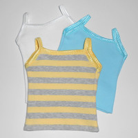 American Girl Doll Clothes 3 Tank Tops Aqua/White and Yellow and Gray Stripe fits 18 inch dolls
