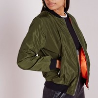 Missguided - Padded Bomber Jacket Khaki