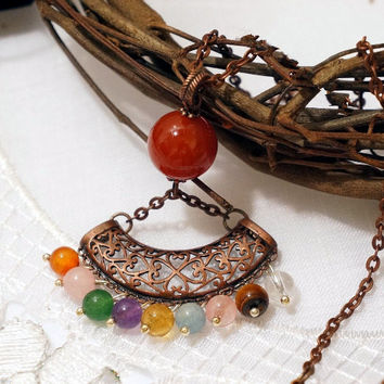 Natural Multi Gemstone Necklace Long Chain Copper Stone Necklace Red Carnelian Amethyst Citrine Aquamarine Necklace