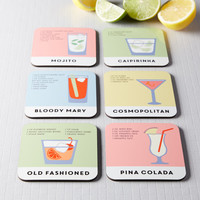 Set Of Six Cocktail Recipe Coasters