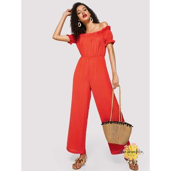 Off The Shoulder Ruffled Palazzo Jumpsuit