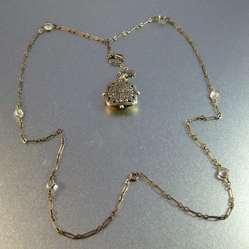 Vintage Art Deco Sterling Rock Crystal Lavalier Necklace Marcasite Locket, Open Bezel Set, Paper Clip Chain