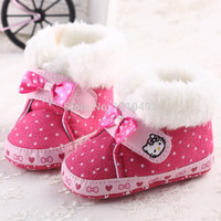 2015 New Girls Pink Super Warm Sweet Cute Hello Kitty Bow Winter Shoes Kids Newborn Baby Prewalker Boots First Walker Footwear