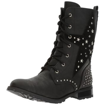 Women's Black Punk Star Studded Military Combat Boots