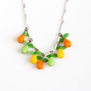 Vintage Glass Pear Charm Fruit Necklace - 1940s Tropical Orange Yellow Green Glass Pendant White Enamel Carmen Miranda Style Costume Jewelry