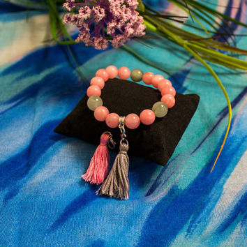 Bead bracelet/ Natural gemstone/ Jade and actinolite/ Changeable tassel/ Pink and grey bracelet/ Gift/ For her