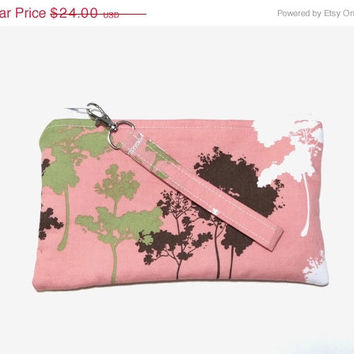 VALENTINES DAY SALE Coral Pink Clutch Purse, Detachable Wristlet, Pink Boho Bag, Brown and Green Trees, Eco Friendly Accessory
