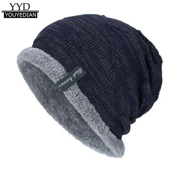 Winter Beanies Knit Winter Hats For Men Cashmere Beanie Skullies Black Gorros Hombre Warm Hats Men 2017 Bonnet Homme*1204