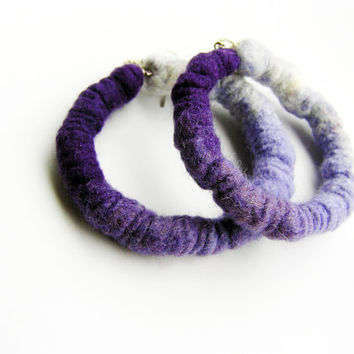 Violet felt hoop earrings- wool earrings- felt earring- modern ombre earrings- hoop earrings- dangle earrings- organic- eco friendly jewelry