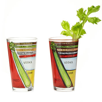 Bloody Mary Diagram Glassware - Set of 2