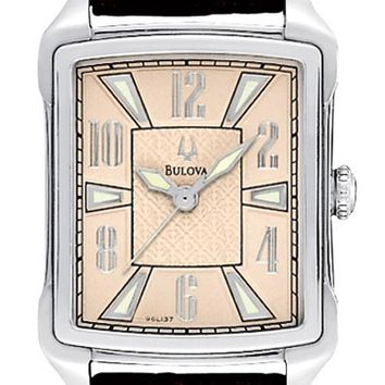 Bulova 96L137 Women's Quartz Leather Strap Beige Dial Watch