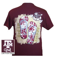 New Texas A&M Aggies Summer Flip Flop Girlie Bright T Shirt