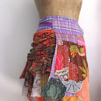 Les Saisons Skirt Wrap Style Recycled Vintage by AllThingsPretty