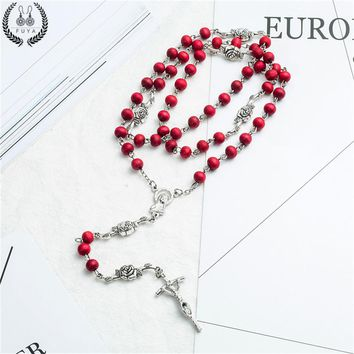 Wood beads diy necklaces Fashion alloy rosarie pendant necklaces for men women Virgin mary jesus christ cross long chain jewelry