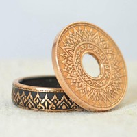 Thailand Coin Ring - Made with a 1941 Kingdom of Thailand 1 Satang Coin