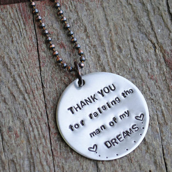 Wedding Mother In Law Gift, Father In Law Gift, Nickel Silver Necklace, Key Chain, Thank You For Raising The Man Of My Dreams, Mothers Day