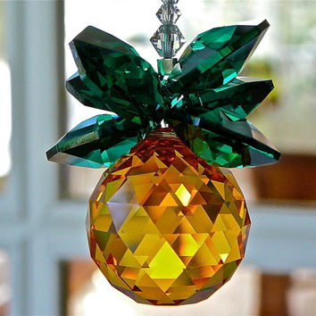 "Gold and Green Swarovski Crystal Pineapple Suncatcher, Rainbow Maker, Housewarming Gift of Hospitality, ""GINNY""  9 Inches Long"