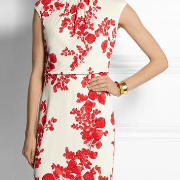 White Floral Sleeveless Mini Pencil Dress
