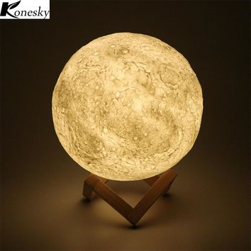 Konesky 3D Magical Moon LED Night Light Moonlight Desk Lamp USB Rechargeable 3 Colors Stepless for Home Decoration Christmas