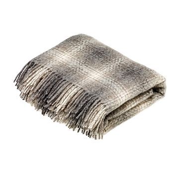 Natural Collection Pure New Wool Throw Blanket Ombre Brown