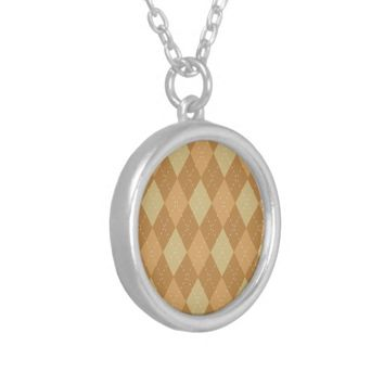 Brown Argyle Like Pattern Round Pendant Necklace