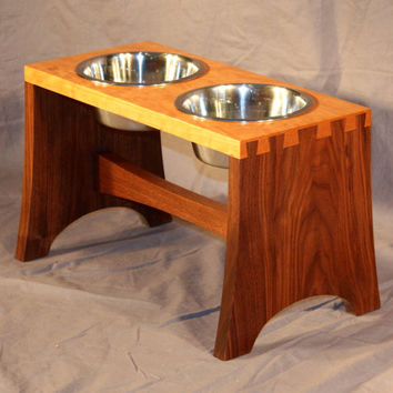 Cherry and Walnut Dovetailed Dog Bowl Stand