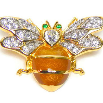 Vintage Bumble Bee Pin Bee Brooch Gold Yellow Enamel Body Rhinestone Wings