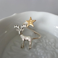 Silver Reindeer Ring, personalized initial ring, christmas ring