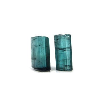 Blue Tourmaline Indicolite 2 Raw Crystals 10mm and 11mm x 5mm Rough Natural Stones 4 Carats for Wire Wrapping & Jewelry Making (Lot No.4756)