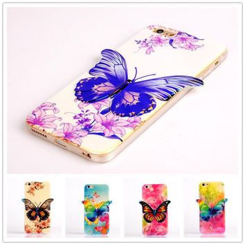 6plus Case Hybrid Soft Silicon Case For iPhone 6 plus 5.5 inch Shockproof 3D Glitter Blue Ray Butterfly
