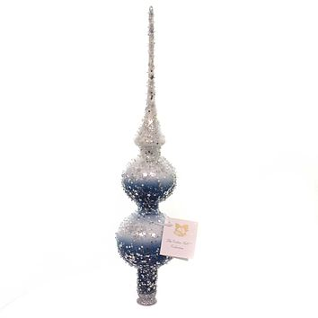 Golden Bell Collection BLUE/WHITE TREE TOPPER Glass Stars Glitter Tt466