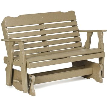 Leisure Lawns Amish Made Recycled Plastic Horizontal Back Glider Chair Model #400 - Ships FREE within 2 to 3 Weeks