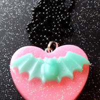 Pastel Goth Bat Pendant / Pink Heart Necklace / Pastel Bat Jewelry / Cute Gothic Heart / Pink and Blue / Birthday Gift / Kawaii Necklace