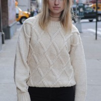 Vintage UNISEX - Irish Knit Cream Sweater Handmade