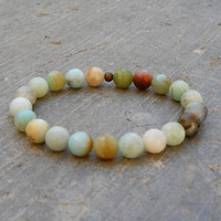 Multitone amazonite mala bracelet