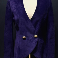 Vintage 1980s Danier Purple Suede Jacket, Leather Blazer, Antique Alchemy