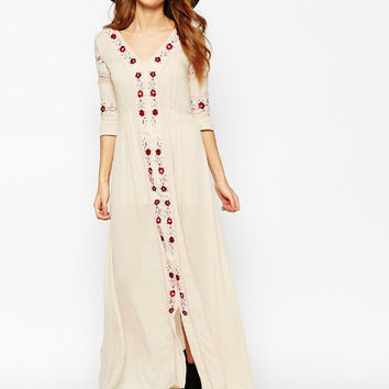 Autumn Three-quarter Sleeve V-neck Floral Embroidery One Piece Dress [4918392836]