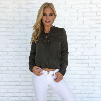 Smooth Talker Top in Olive