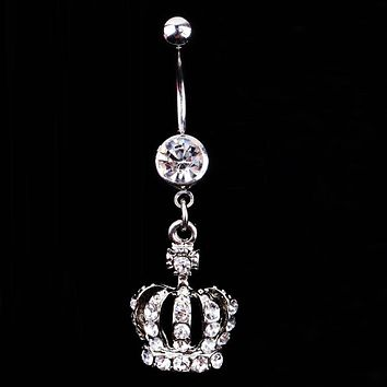 2016 Hot Sale New Fashion Crown Charm Rhinestone Body Piercing Jewelry Belly Button Ring Navel Jewelry Body-0164 Drop Shipping