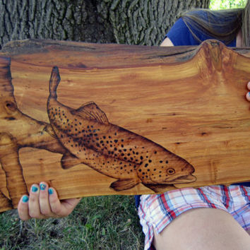 trout wood art - trout fishing nautical wall decor - rustic log cabin showpiece wall art