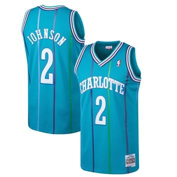 Mitchell & Ness Larry Johnson Charlotte Hornets Teal 1992-93 Hardwood Classics Swingman Jersey