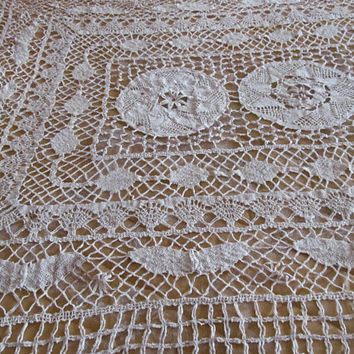 Antique Bobbin Lace Tablecloth Butterfly Decor Antique Lace Tablecloth Crochet Cotton Tablecloth Haberdashery Victorian  Romantic Home Decor