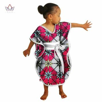 African Kids Dresses African Dashiki Print Cotton Wax Matching Dresses Africa Children